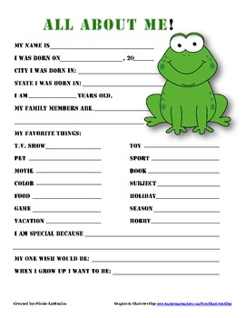 """""""All About Me"""" frog themed student questionnaire"""