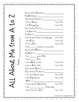 All About Me from A to Z