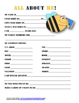 """All About Me"" ladybug or bee themed student questionnaire"