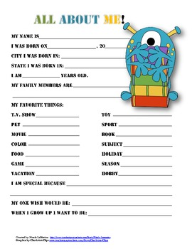 """""""All About Me"""" monster themed student questionnaire"""