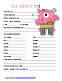 """All About Me"" monster themed student questionnaire"