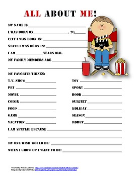 """""""All About Me"""" movie themed student questionnaire"""