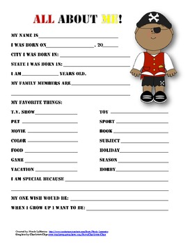 """""""All About Me"""" pirate themed student questionnaire"""