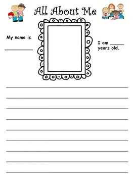 All About Me (poster and writing activity)