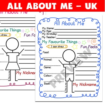 All About Me printables - 3 colors - stick figures (UK VERSION)