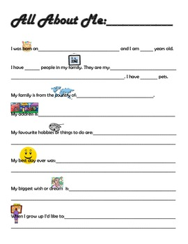 """""""All About Me"""" sheet for special education students and students with autism"""