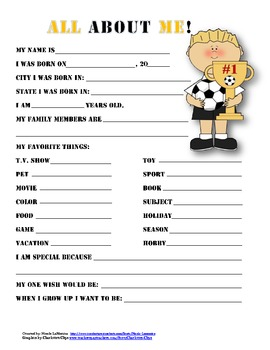 """""""All About Me"""" soccer themed student questionnaire"""