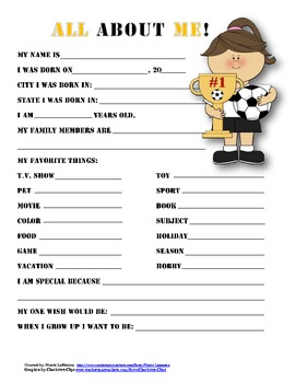"""All About Me"" soccer themed student questionnaire"