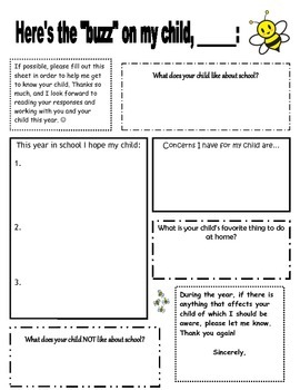 All About Me student AND parent sheet