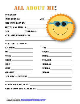 """All About Me"" sun themed student questionnaire"