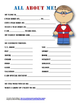 """""""All About Me"""" superhero themed student questionnaire"""