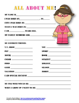 """All About Me"" superhero themed student questionnaire"