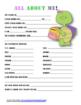 """All About Me"" turtle themed student questionnaire"