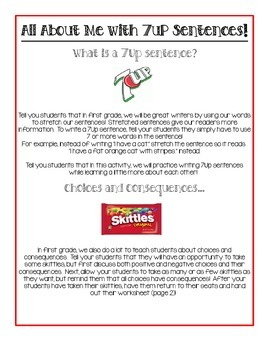 All About Me with 7 Up Sentences