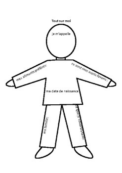 All About Me worksheet in French