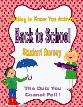 Back to School Student Survey (Emotional, Social, Environm