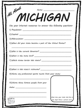 All About Michigan - Fifty States Project Based Learning Worksheet