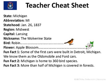 All About Michigan | US States | Activities & Worksheets