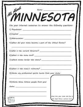 All About Minnesota - Fifty States Project Based Learning Worksheet