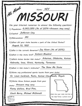All About Missouri - Fifty States Project Based Learning Worksheet