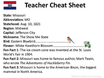 All About Missouri| US States | Activities & Worksheets