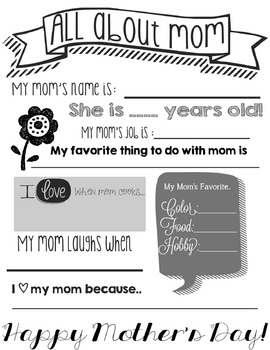 All About Mom! Mother's Day Activity