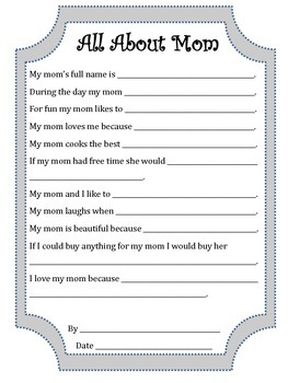 All About Mom Mother's Day Printable