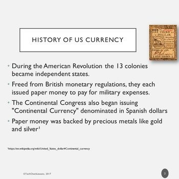 All About Money (History of US Currency) Informational Slideshow Presentation