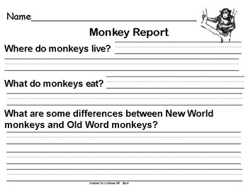 All About Monkeys, Writing Activities, Graphic Organizers, and a Diagram