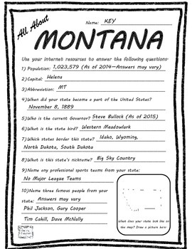All About Montana - Fifty States Project Based Learning Worksheet