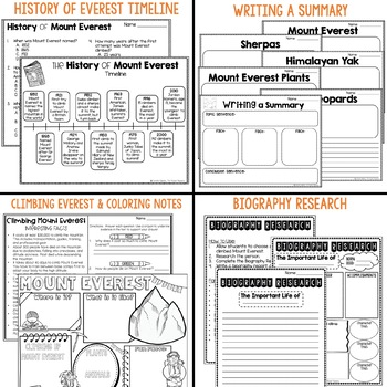 All About Mount Everest Informational text includes sherpas, plants, and animals
