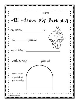 all about me my birthday worksheets by patricia watson tpt. Black Bedroom Furniture Sets. Home Design Ideas