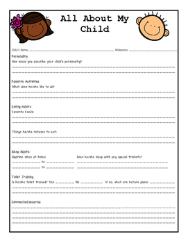 All About My Child Enrollment Form