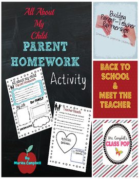 All About My Child - Parent Homework Activity for getting