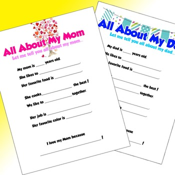 All About My Family Individual Sheets (Mom, Dad, Grandma,