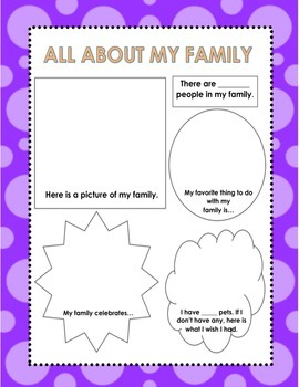 All About My Family Worksheet