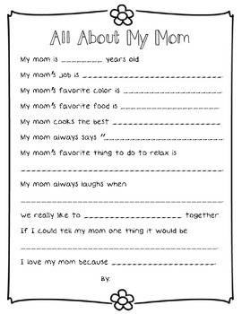 All About My Mom {A Mother's day questionnaire}