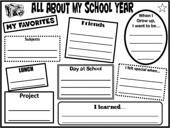 END OF THE YEAR - All About My School Year Memory Page