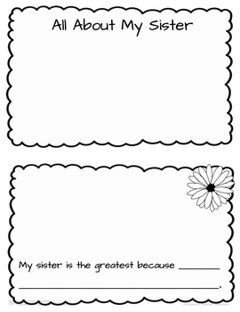 All About My Sister Mini Book Templates