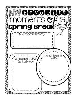 All About My Spring Break Pack: A Booklet {Just Print & Staple!}