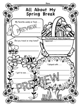 All About My Spring Break: Poster, Activity, Reading, Writing