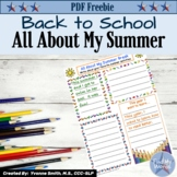 All About My Summer A Back to School Getting to Know You Activity