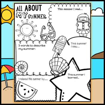 All About My Summer : Back to School Ice breaker