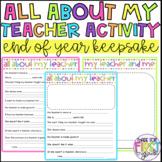 All About My Teacher Activity and Keepsake
