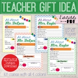 All About My Teacher Memory Book, End of Year Teacher Appreciation Gift Idea PTA