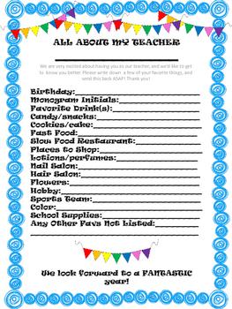 All About My Teacher Survey
