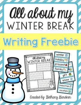 All About My Winter Break Writing Freebie