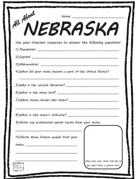 All About Nebraska - Fifty States Project Based Learning Worksheet