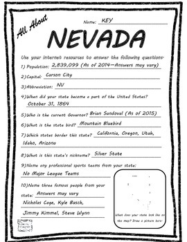 All About Nevada- Fifty States Project Based Learning Worksheet
