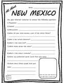 All About New Mexico - Fifty States Project Based Learning Worksheet